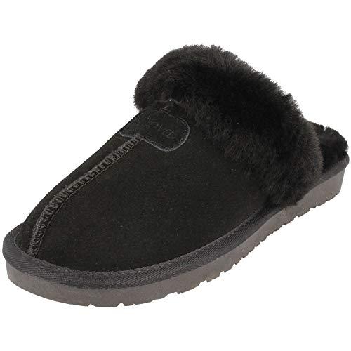 BOnova Helsinki Hausschuhe Damen Plüsch schwarz Gr. 39 - Schuhe Slipper Clogs Pantoffeln Lammfell Schlappen Filzpantoffeln Leder 35 36 37 38 39 40 41 42 43