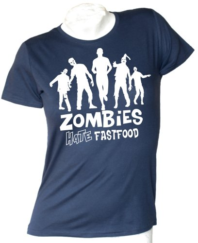 Zombies Hate Fastfood woman T-shirt Navy
