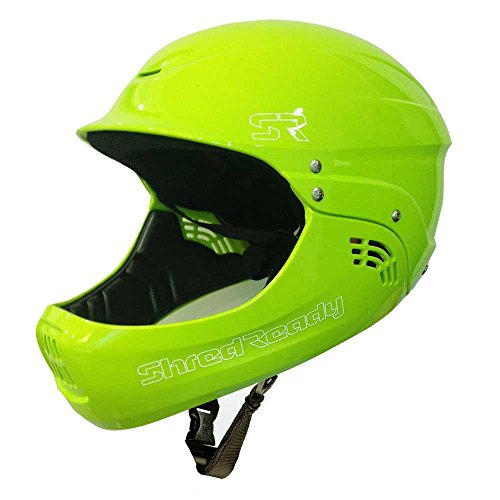 Megastore4 Shred Ready Fullface Wildwasser Helm Kajak Helm Sup Wassersporthelm Fullface Helm Wakeboard Helm Wassersporthelm (Flash Green)