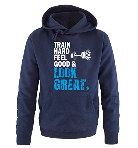 Comedy Shirts - TRAIN HARD & LOOK GREAT - DELUXE - Uomo Hoodie cappuccio sweater - taglia S-XXL different colors blu navy / bianco-blu