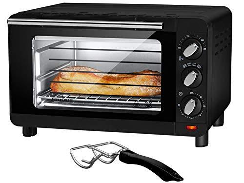 Silvercrest Mini Backofen 15L - 1300W | Pizzaofen Minibackofen SGB 1200 Doppelglastür Grillofen Tischbackofen Grillen (Schwarz)