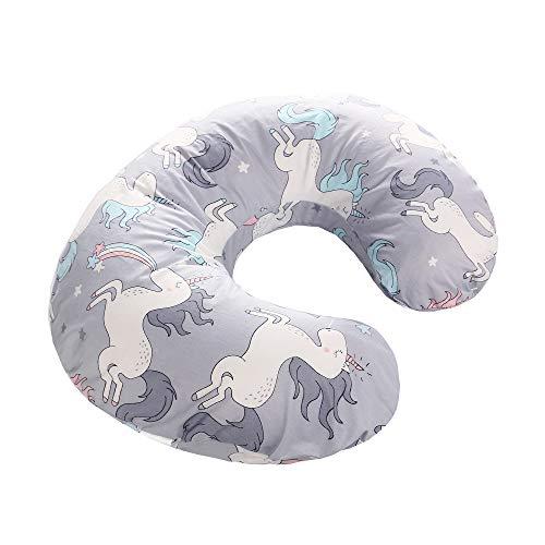 Fodera per cuscino infermieristica per neonati, fodera per cuscino in morbido cotone, copertura per cuscino rimovibile in gravidanza(unicorno grigio)