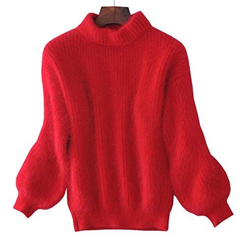 Missoul Women Faux Mohair Fur Sweater Fluffy Jumper Pullover Turtleneck Puff Sleeve Warm (Red) -