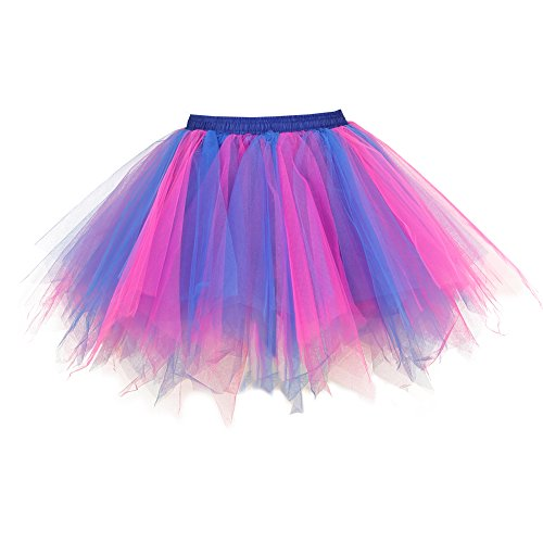 Tutu Damenrock 80er Jahre Neon Tütü Damen Rock Tüllrock Petticoat Pettiskirt 50er Vintage Tutu Kurze Ballet Rock Tanzkleid Unterrock Unterkleid Pink für Frauen Erwachsene 1980s Fancy Dress (pinkblue) (Hahn Fancy Dress Kostüm)