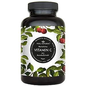 Acerola Kapseln – Natürliches Vitamin C – 180 vegane Kapseln im 6 Monatsvorrat – Ohne unerwünschte Zusätze – Laborgeprüft, vegan und hergestellt in Deutschland