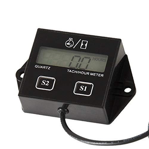 DEjasnyfall Hohe Leistung Auto Digital Motor Drehzahlmesser Betriebsstundenzähler Induktiv für Motorrad Auto Motor Hub Motor (schwarz)