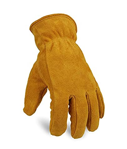 OZERO Winter Gloves, Genuine Cowhide Leather Snow Working Glove Lined with Thick and Warm Imitation Lambswool - Cold Proof, Windproof and Wear-resistant for Men & Women -