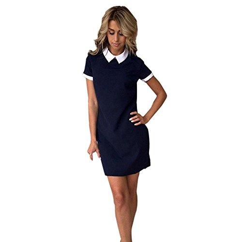 Elecenty Damen Knielang Hemdkleid Kurzarm Blusekleid Umlegekragen Sommerkleid Rock Mädchen Pailletten Kleider Frauen Mode Kurz Kleid Minikleid Kleidung Partykleid (XL, Marine) (Marine-blau-kleidung)