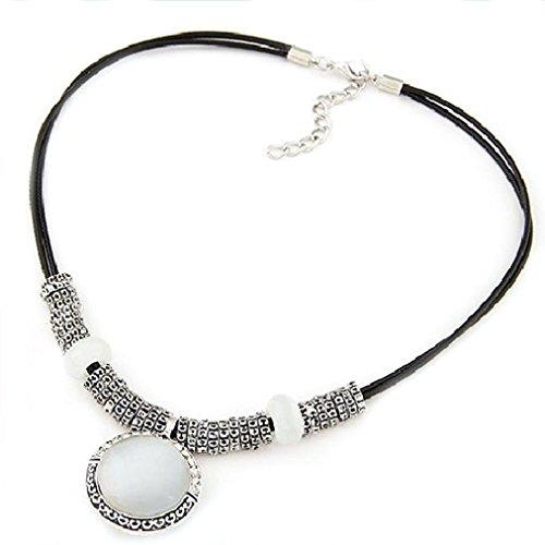 Sunnywill Strass Opal Kristall Anhänger Leder Halskette Pullover Kette Modeschmuck für Damen Mädchen (Strass-kreuz-snap)