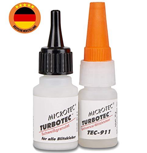 Microtec Turbotec-911 Schweißgranulat + Sekundenkleber | 40g + 10g | Kleben wie die Profis | extra starker Industriekleber | 2 Komponenten Kleber für Metall, Keramik, Holz, Kunststoff u.v.m.