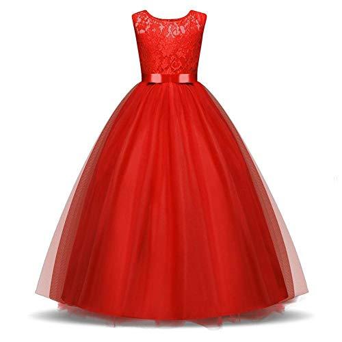 QJKai Girls ärmellose Spitzen-getrimmten Bogen Kleid Prinzessin geschwollene Festliche Kleid Rock Kleid (Geschwollene Prinzessin Kleider)