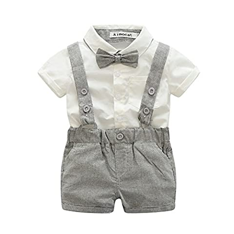 ESHOO Baby Boy Summer T-shirts Tops+Bib Pants Overalls Outfit Clothes
