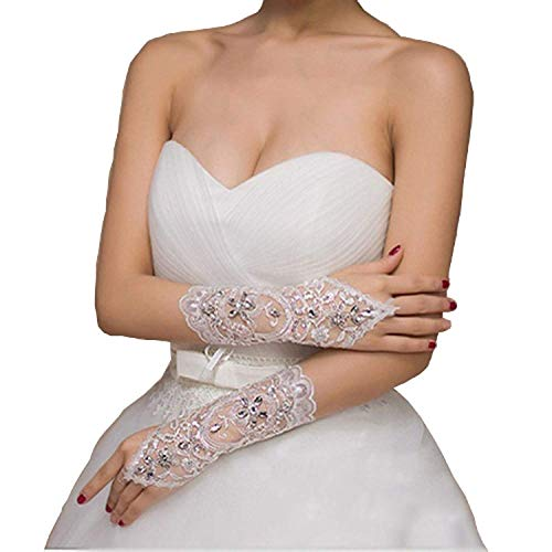 Gownlink Christian Wedding Fingerless Gloves Wedding Accessory In White Color-G12