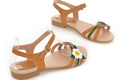 YCMDM Women Summer Cute Ladies Sandales plates en cuir de vachette doux meters white