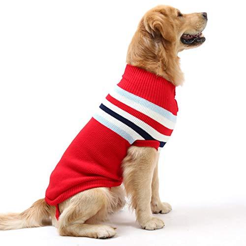 Jinxuny Hund Kleidung Strickwaren Mode gestreiften Hund Pullover Welpe Haustier Wolle Winter Strickwaren häkeln Mantel Kleidung für kleine mittelgroße Pet Hunde (Color : Red Stripe, Size : 8#) -