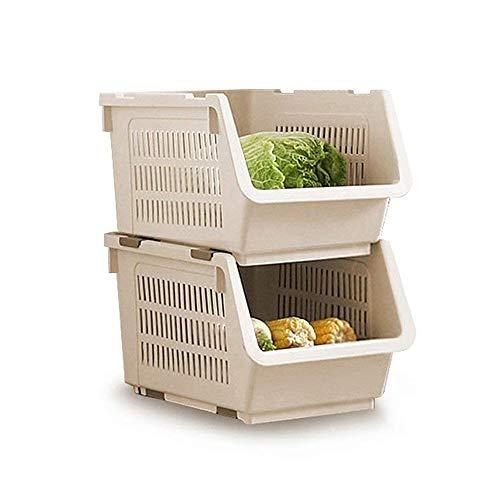 Korb, Stapeln Körbe Lagerung Veg Rack Kunststoff Stapler Lagerregal mit Rädern für Badezimmer Wohnzimmer Küche Gemüse Obst Lagerung (weiß) ()