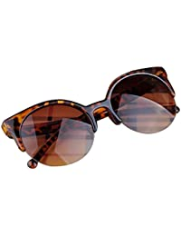 DEESEE(TM) Fashion Vintage Sunglasses Retro Cat Eye Semi-Rim Round Sunglasses For Men Women Sun Glasses (As The...