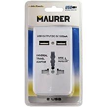 TopShop Maurer 19110052 - Cargador universal de viaje con 2 puertos USB, 1000 mA