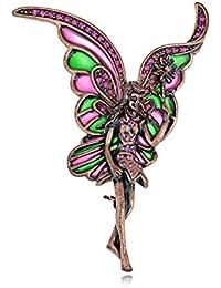 Diseño de hada con tono de cobre de caza fucsia y brillantes decorativos Fashion Pin broche con forma de traje de baño
