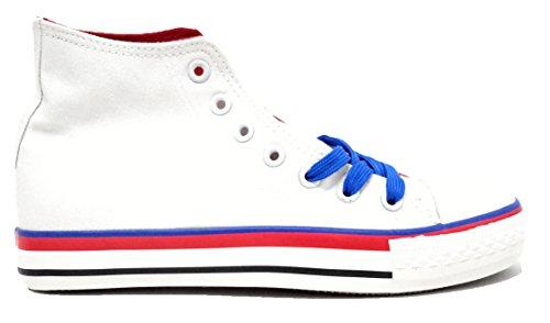 Farbiger Damen Sneaker Canvas Freizeit High Turnschuh Casual Retro Style. Trendig Sportlicher Hi Schnürer für Frauen, Verschiedene Farben Weiß