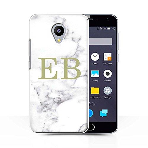 Stuff4® Personalisiert Weiß Marmor Mode Hülle für Meizu M2 Note/Goldstempel Design/Initiale/Name/Text Schutzhülle/Case/Etui