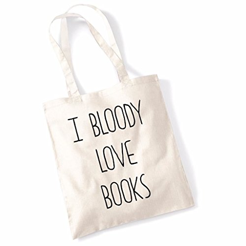 Print Canvas Shopper (Tote Bag For Women I Bloody Love Books Slogan Print Shopper Shoulder Canvas Bags 100% Cotton)
