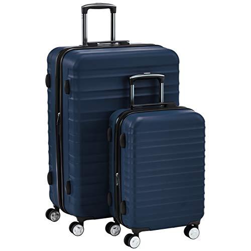 Hochwertiger Hartschalen-Trolley mit eingebautem TSA-Schloss und Laufrollen 2-Teiliges Set (55 cm, 78 cm), Marineblau