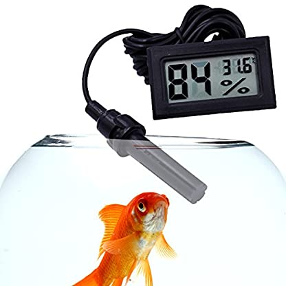 Zaote New LCD Digital Thermometer Reptile Aquarium Air Climb Box Electronic Hygrometer with Line Probe 6
