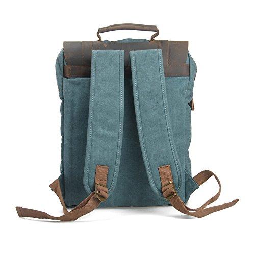 YAAGLE Canvas europäisch Damen und Herren Unisex Retrotasche Rucksack Reisetasche groß Fassungsvermögen Schüler Schultasche Laptoptasche Schultertasche-khaki(Small) grey(large)