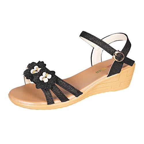 koperras Women's Wedge Sandals - Ladies Summer Flower Bling Wedges Beach Fashion Platform Roman Shoes