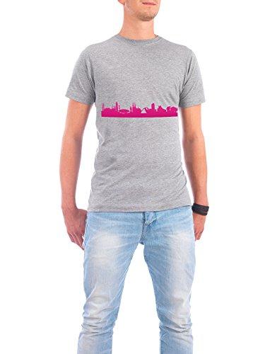 """Design T-Shirt Männer Continental Cotton """"Eindhoven 04 Pink Skyline Print monochrome"""" - stylisches Shirt Abstrakt Städte Städte / Weitere Architektur von 44spaces Grau"""