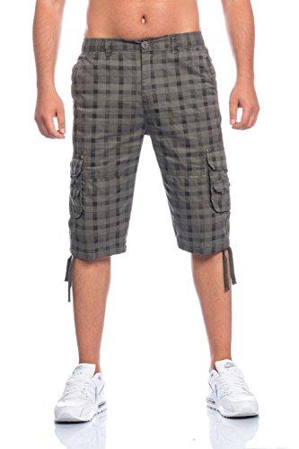 Herren Bermuda Shorts Kurze Hose Karo 816 (L, oliv)