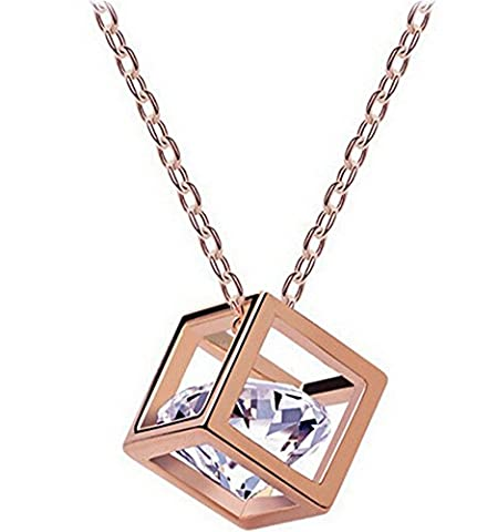 Buy any 2 & get 1 FREE! Rose Gold - Cube Pandora Box Style Pendant Necklace Swarovski Elements Diamond Jewellery Vintage Ladies (Bronze