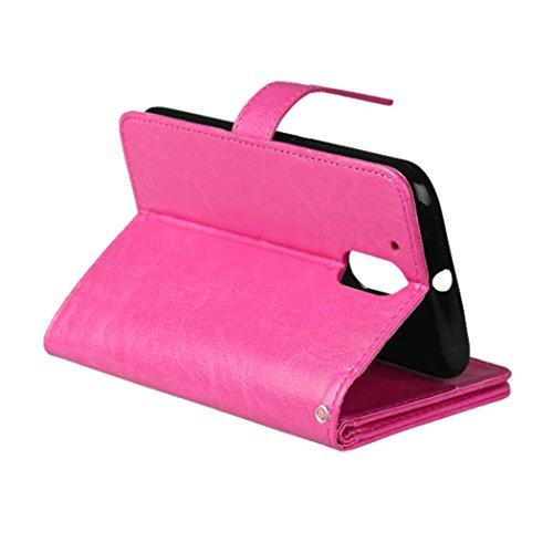 MOTO G4 G4 Play Tasche Flip Folio Case Solid Farbe Premium Synthetik-Leder-Kasten-Standplatz-Mappen-Kasten-Kasten mit 9 Karten-Bargeld-Slots für MOTO G4 G4 Spielen ( Color : Black , Size : MOTO G4 G4  Pink
