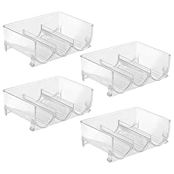 InterDesign Stackable Wine Storage Rack for Refrigerator, Kitchen Countertops - Set of 4, Holds 3 Bottles, Clear