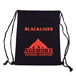 Agemore Slackline Kit Reusable Canvas backpack with Long & Durable(42cm X34cm) thickness 12 amps(Not included Slackline