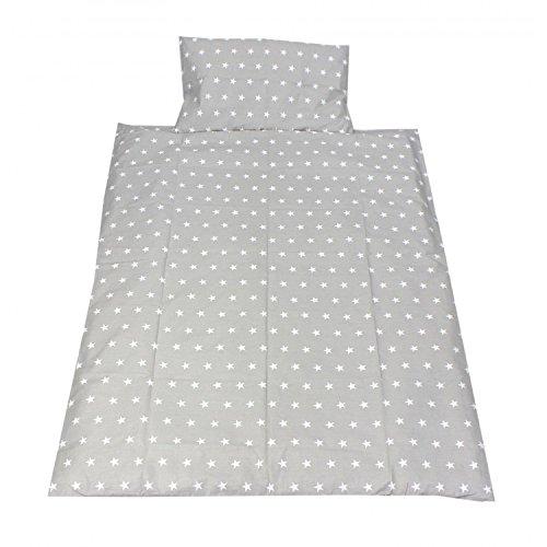TupTam Kinderbettwäsche Set Gemustert 2 teilig, Farbe: Sterne Grau, Größe: 135x100 cm
