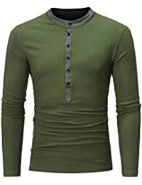 BUSIM Men's Long Sleeved Shirt Casual Slim Solid Color Round Neck Thin Warm Bottoming Shirt Fashion T-Shirt Button...