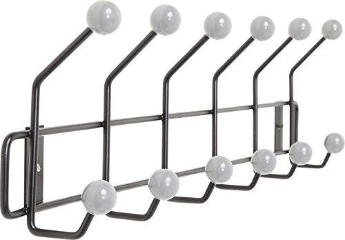 Kare Design–Perchero de Pared Bud Negro, Retro–Perchero de Acero, Negro de Color Blanco–Perchero (con 12Ganchos,–Perchero de Acero (H/B/T) 15x 50x 6,5cm