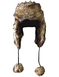 Fausse fourrure en peluche femme de luxe pour l'hiver, chapkas chapeau aviateur avec oreillettes et pompoms