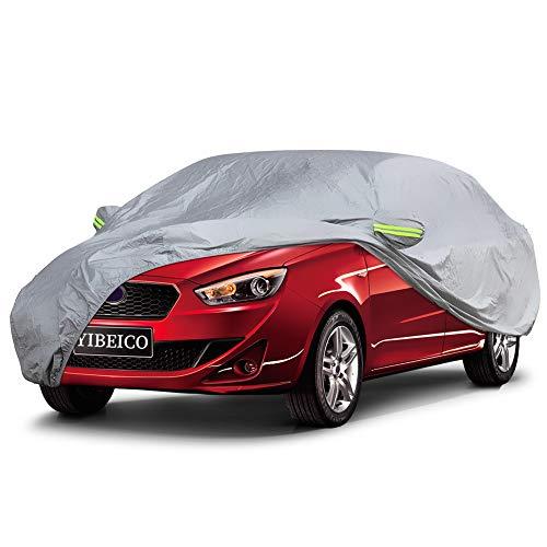 YIBEICO Autoabdeckung Autoplane Autdoor Wasserdicht Auto Abdeckplane Garage Winter & Sommer Allwetterschutz L