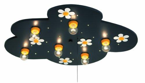 Niermann Standby 650 Deckenleuchte Flower Power, inklusive Leuchtmittel: 6 x E14 max.40 Watt + 20 Lichtpunkte, 54 x 74 x 8 cm, Schlummerlichtfunktion über Zugschalter, Made in Germany