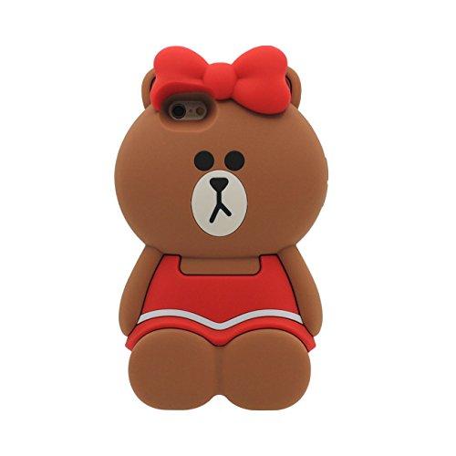 Rubber Slikon Gel [ Glatte Oberfläche ] Weich Cartoon Tier [Ein Bär trägt Rock] Case Schutzhülle für Apple iPhone 6S / 6 4.7 inch Hülle - Braun rot