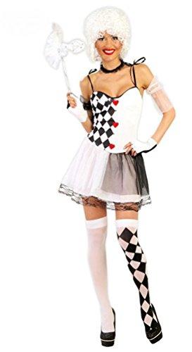 ,Karneval Klamotten' sexy Clown Harlekin Kostüm Damen Kleid schwarz-weiß inkl. Halsschmuck, Armstulpen Größe (Kostüme Zirkus Clown Baby)