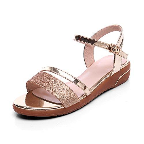 XY&GKMode mit flachen Mutter Sandalen für Frauen Sommer Sommer Studenten nackten Zehen einfach die Freizeit Frauen Sommer Sandalen, komfortabel und schön 37 gold