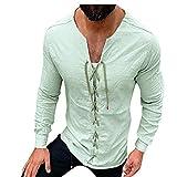 Fascino-M Camicia Medievale da Uomo Pizzo Frontale Camicie Rinascimentale da Uomo
