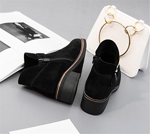 Scarpe donna Inverno Ankle Chelsea Boots Martin Suede Zipper Buckle Office Casual Black Size35To41 black