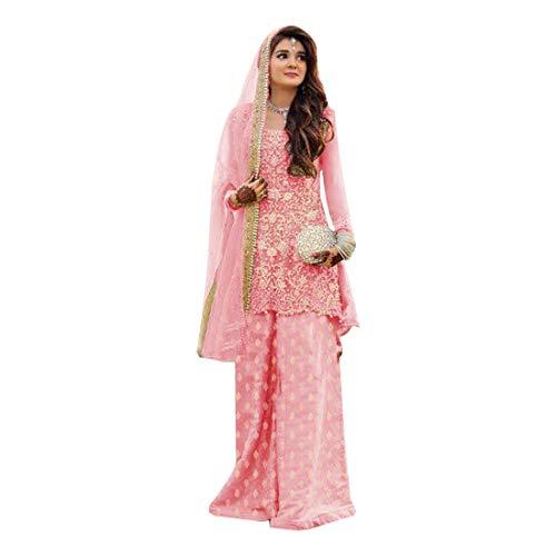 Georgette Palazzo Hose (ETHNIC EMPORIUM Pink Indian Straight Kameez Kurti mit Palazzo Hose und passendem Dupatta Bollywood Partykleid Ethnische Frauen kleiden festliches muslimisches Bollywood 8134)