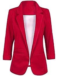 fb9b4330b8181 Aswinfon Blazer Femme Tailleur Manches 3 4 Chic Business Officier Cardigan Veste  Blazer