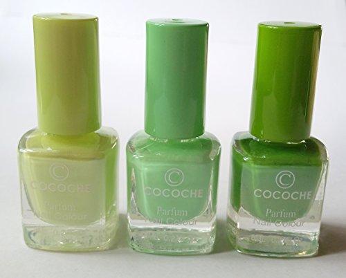 NEW Nail Art cocoche Parfum Coffret de vernis à ongles 3 pièces dans vert clair/vert avec Green Tea/Thé vert arôme parfum Nail Colour